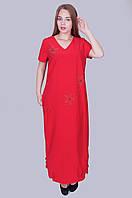 Длинное платье бенгалин. Цвет красный. Размер 52, 54, 56, 58. Код 583. Хмельницкий