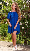Пляжное платье из штапеля синее