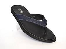 Вьетнамки, шлепанцы мужские кожаные синие Rosso Avangard Flip flops Blububle