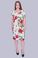 """Нарядное женское платье """"Роза"""". Цвет белый. Размер 52,54,56,58 Код 585"""