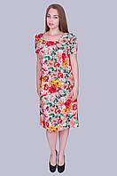 """Нарядное женское платье """"Лен"""". Цвет розовый. Размер 52,54,56,58 Код 586"""