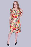 "Нарядное женское платье ""Лен"". Цвет желтый. Размер 52,54,56,58 Код 586"