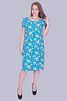 """Нарядное женское платье """"Лен-вишня"""". Цвет голубой. Размер 52,54,56,58 Код 586"""