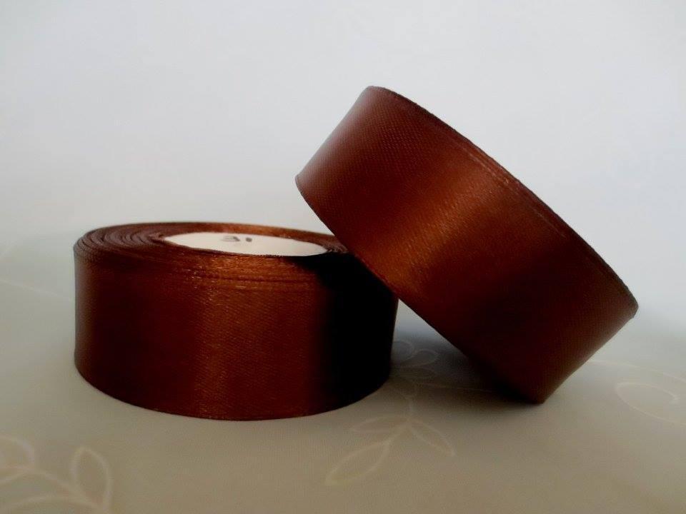Лента атласная. Цвет коричневый. Ширина 2.5 см