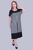 Легкое летнее платье в полоску. Цвет: черный. Размер: 54,56,58. Хмельницкий