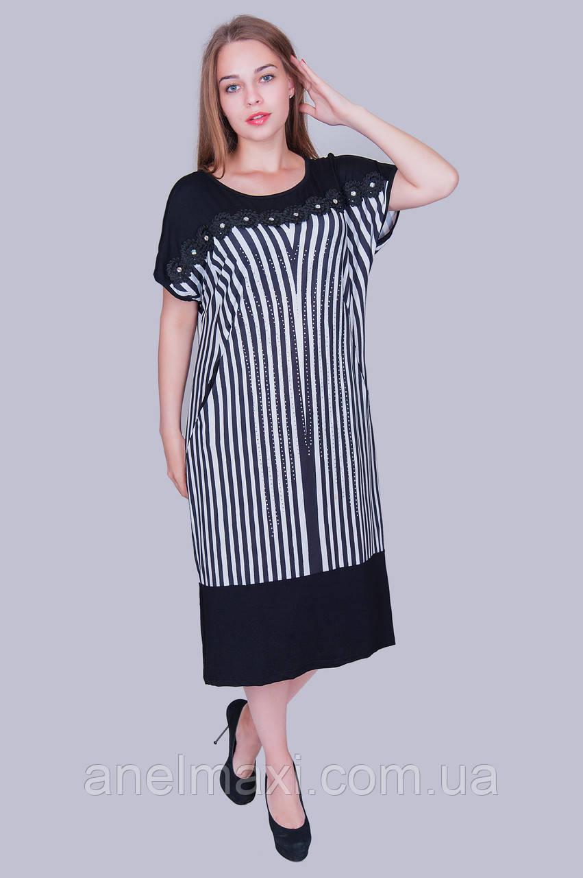 bb52bb50c55 Легкое летнее платье в полоску. Цвет  черный. Размер  54