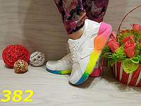 Женские белые кроссовки хуарачи с цветной подошвой, 36 37 38 39р.