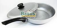 Сковорода алюминиевая 26см с ровным дном, бакелитовой ручкой и крышкой Биол (A263), фото 1