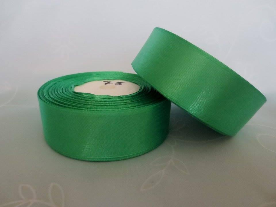 Лента атласная. Цвет зеленый. Ширина 2.5 см