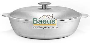 Сковорода (жаровня) алюминиевая 28см с ровным дном, литыми ручками и крышкой Биол (А284)