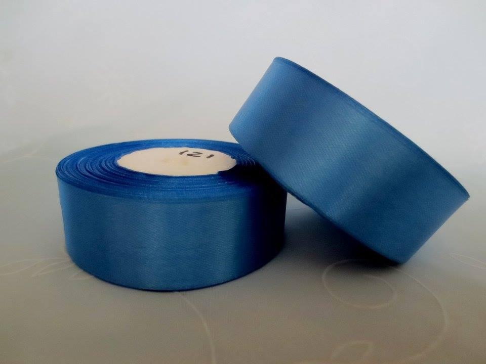 Лента атласная. Цвет синий. Ширина 2.5 см