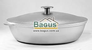 Сковорода (жаровня) алюминиевая 32см с ровным дном, литыми ручками и крышкой Биол (А323)