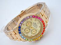 Женские часы Rolex Daytona - Cristal, золотой цвет с кристаллами