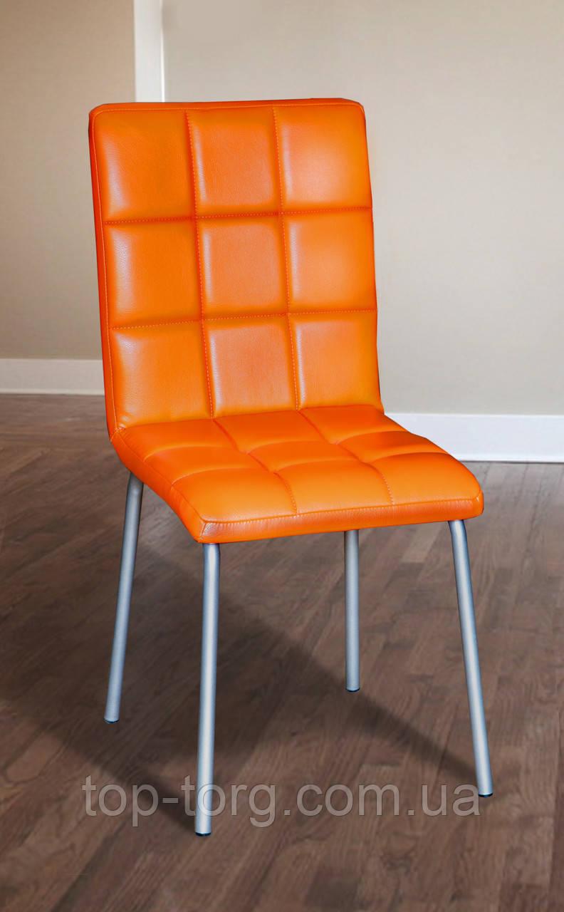 Стул C83 оранжевый, металлический, кожзам, экокожа