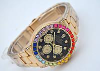 Женские часы Rolex Daytona - Cristal, золотой цвет с черным циферблатом, кристаллы, фото 1