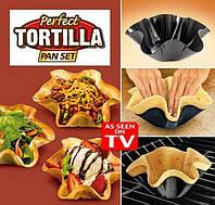 Perfect Tortilla Pan Set – идеальные формы для выпечки хрустящих лепёшек, салаты, мясо, холодные закуски!