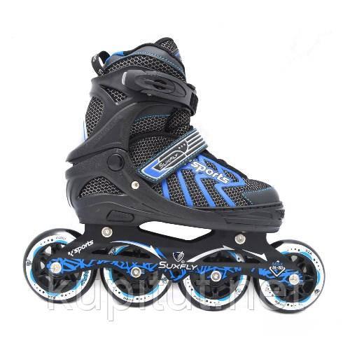 Роликовые коньки (ролики) регулируемые на больших колесах Cool Slide M-6005 M(35-38), L(39-42) синий