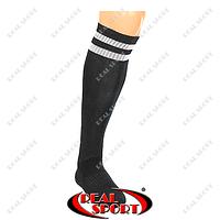 Гетры футбольные CO-3256-BK (носок-махра, х-б, верх-нейлон, р-р 40-45, черный, белая полоса)