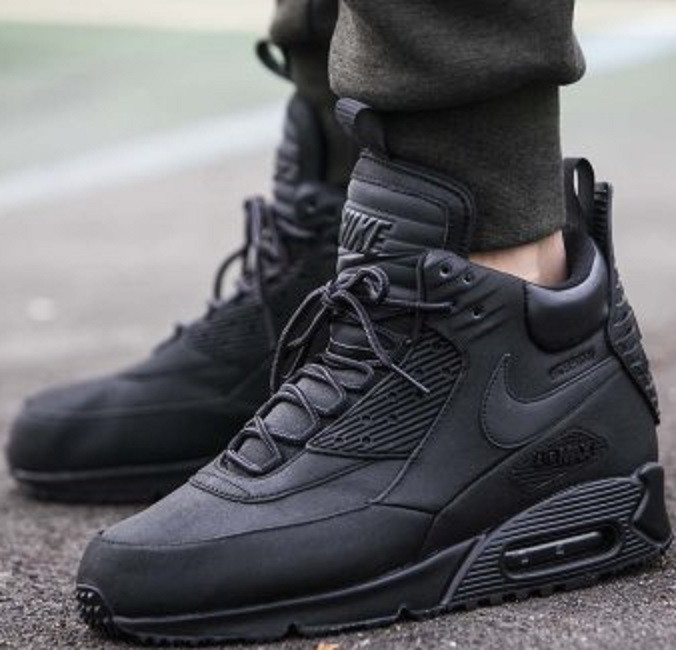 fce34387 ... Зимние кроссовки Nike Air Max 90 SneakerBoot Winter Triple Black, ...