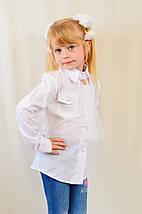 Красивая нарядная школьная белая блуза с карманчиком для девочки в школу, фото 3
