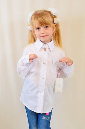 Красивая нарядная школьная белая блуза с карманчиком для девочки в школу, фото 2