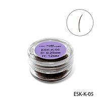 Ресницы в банках ESK-K-05 цветные (диаметр: 0,25 мм, длина: 12 мм, цвет коричневый),