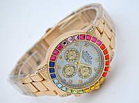 Женские часы Rolex Daytona - Cristal, золотой цвет с черным циферблатом, кристаллы