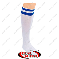 Гетры футбольные CO-3256-WB (носок-махра, х-б, верх-нейлон, р-р 40-45, белый, синяя полоса)