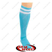 Гетры футбольные CO-3256-LB (носок-махра, х-б, верх-нейлон, р-р 40-45, голубой, белая полоса)