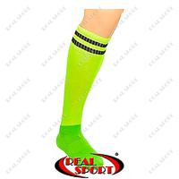 Гетры футбольные CO-3256-G (носок-махра, х-б, верх-нейлон, р-р 40-45, салат., черн, полоса)