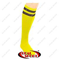 Гетры футбольные CO-3256-Y (носок-махра, х-б, верх-нейлон, р-р 40-45, желтый, черная полоса)