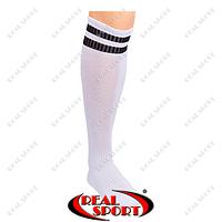 Гетры футбольные CO-3256-W (носок-махра, х-б, верх-нейлон, р-р 40-45, белый, черная полоса)