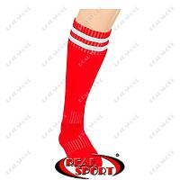 Гетры футбольные CO-3256-R (носок-махра, х-б, верх-нейлон, р-р 40-45, красный, белая полоса)