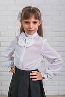 Красивая, стильная, белая шифоновая школьная блузка с бантиком для девочки  рост - 128, 134, 140, 146, 152