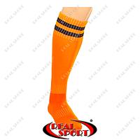 Гетры футбольные CO-3256-O (носок-махра, х-б, верх-нейлон, р-р 40-45, оранжев, черн. полоса)
