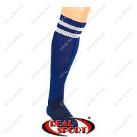 Гетры футбольные CO-3256-NV (носок-махра, х-б, верх-нейлон, р-р 40-45, т.син., белая полоса)