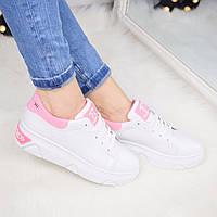Кроссовки женские Queen Collection белые с розовым  3400, спортивная обувь