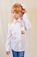 Красивая нарядная школьная белая блуза с кружевом для девочки в школу