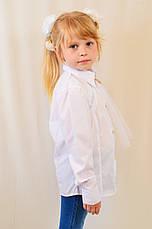 Красивая нарядная школьная белая блуза с кружевом для девочки в школу, фото 2