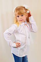 Красивая нарядная школьная белая блуза с кружевом для девочки в школу, фото 3