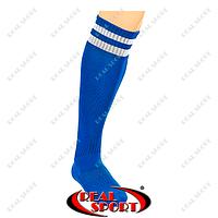Гетры футбольные CO-3256-BL (носок-махра, х-б, верх-нейлон, р-р 40-45, синий, белая полоса)