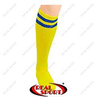 Гетры футбольные CO-3256-YB (носок-махра, х-б, верх-нейлон, р-р 40-45, желтый, синяя полоса)