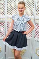 Детская школьная юбка с кружевной отделкой  р. 116-134