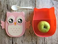 """Стильный контейнер для обедов Ланч бокс """"Сова"""" с ложечкой и вилочкой в комплекте, розовый"""