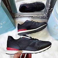 Женские черные кроссовки кожа+сетка с красной вставкой сзади