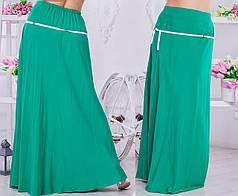 Однотонная женская юбка макси с поясом в комплекте.