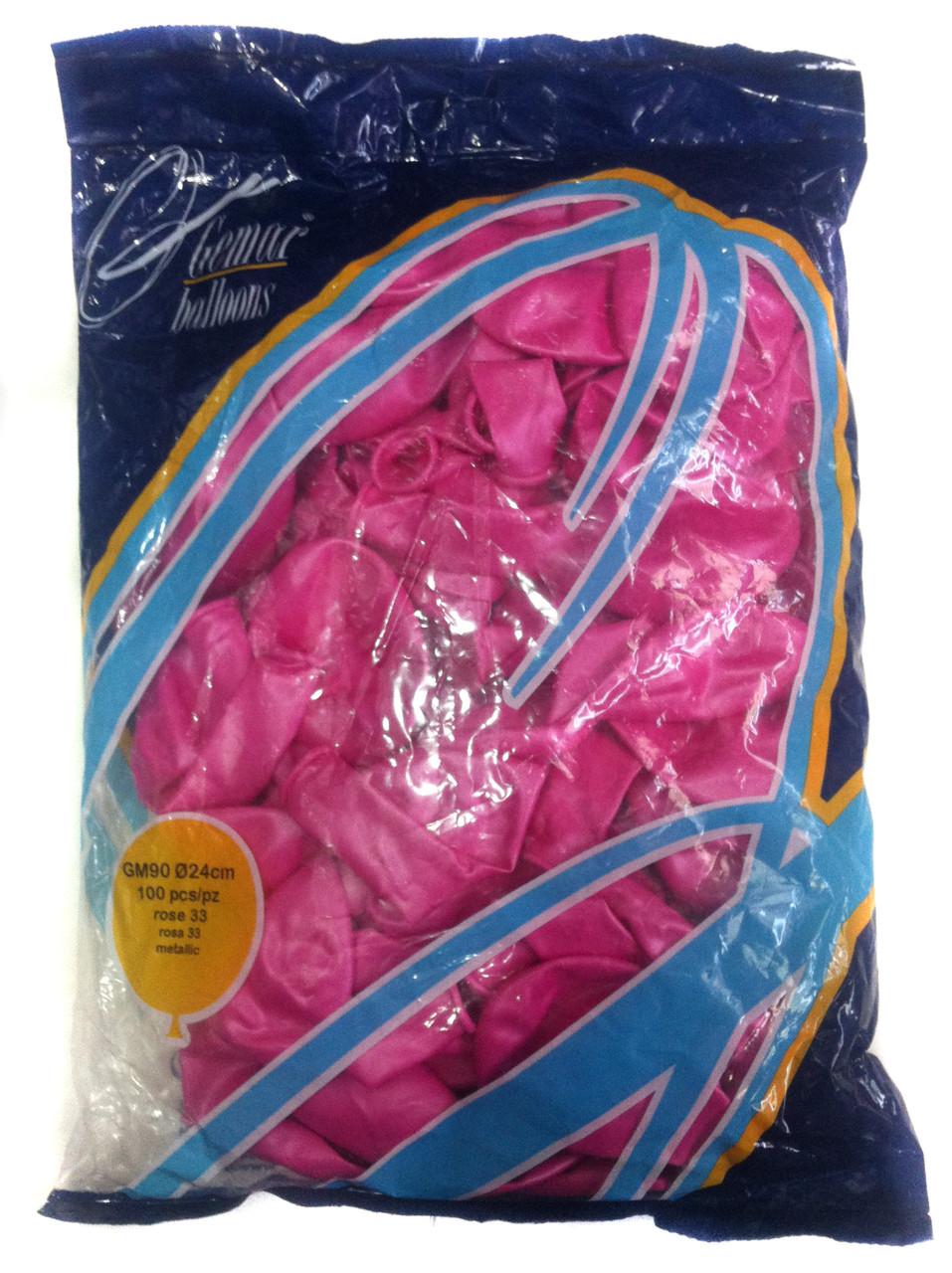 Шары надувные розовый перламутр (металлик), Gemar Balloons GM90, 100шт.