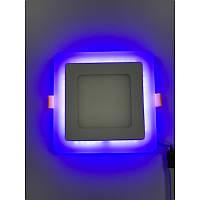 Светодиодная панель 12 + 4W с синей подсветкой 4500K Квадрат Lemanso LM501 LED