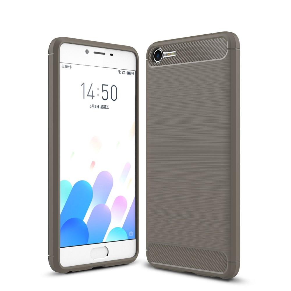 Чехол накладка TPU Fiber Carbon для Meizu E2 серый