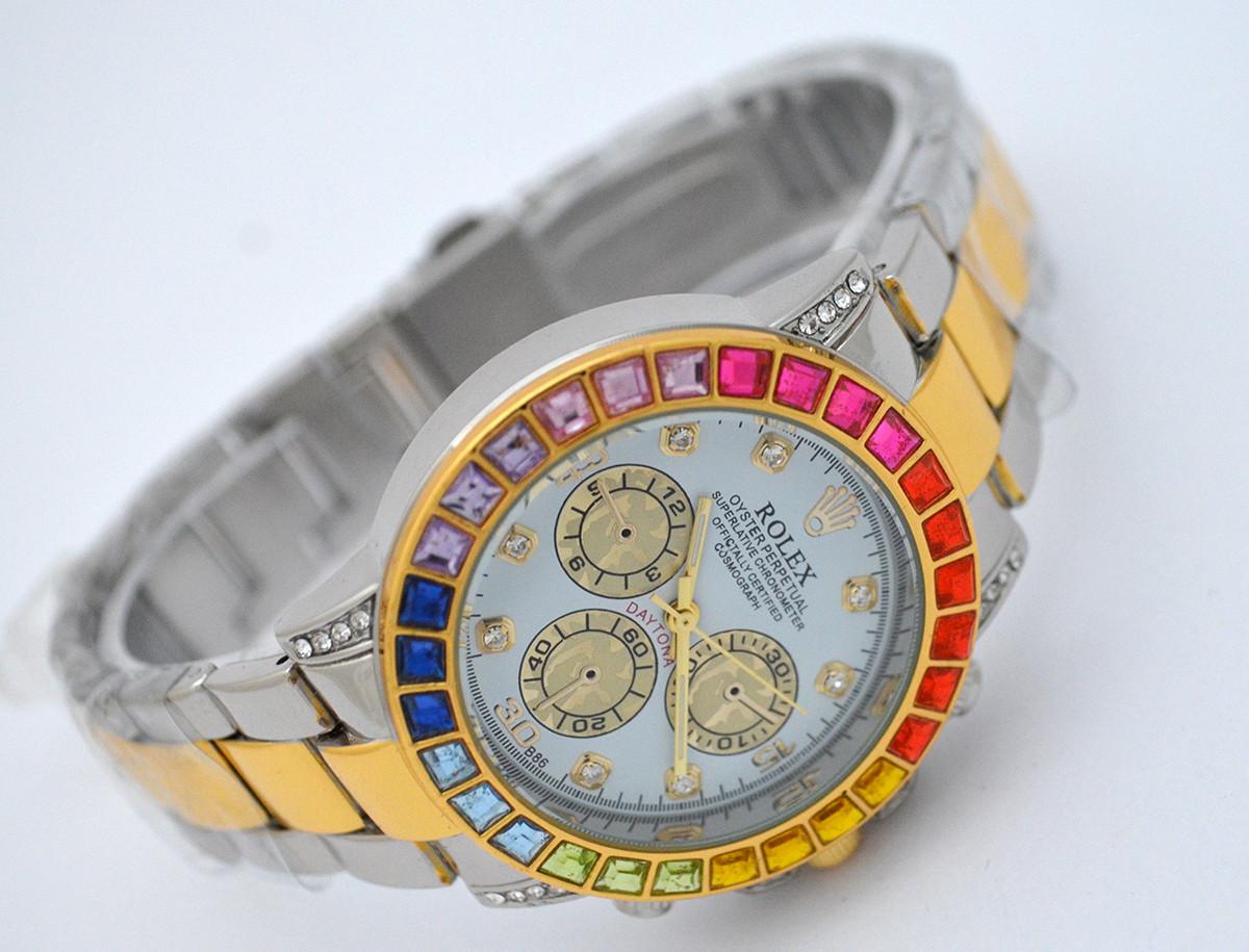 d1cc55d3540e Женские часы Rolex Daytona - Cristal, цвет серебро с золотом, кристаллы